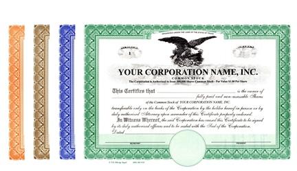 corporation stock certificates. Black Bedroom Furniture Sets. Home Design Ideas